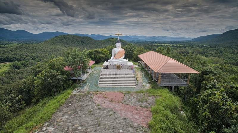 Aerial view Doi-kad Temple of lamphun city,north in thailand royalty free stock photo