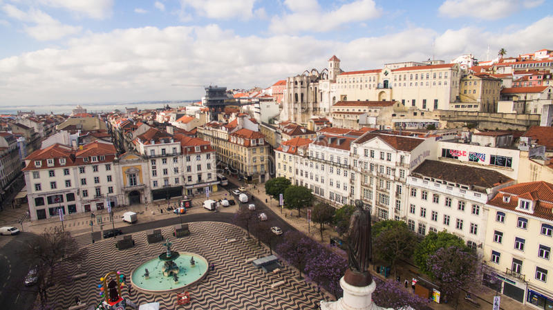 Aerial View of Dom Pedro IV Square in Rossio, Lisbon, Portugal, May 2016 royalty free stock images