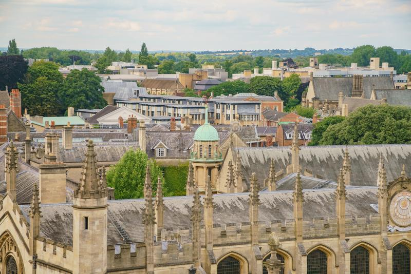 Aerial view of the dome of The Sheldonian Theatre and Oxford cit royalty free stock photography