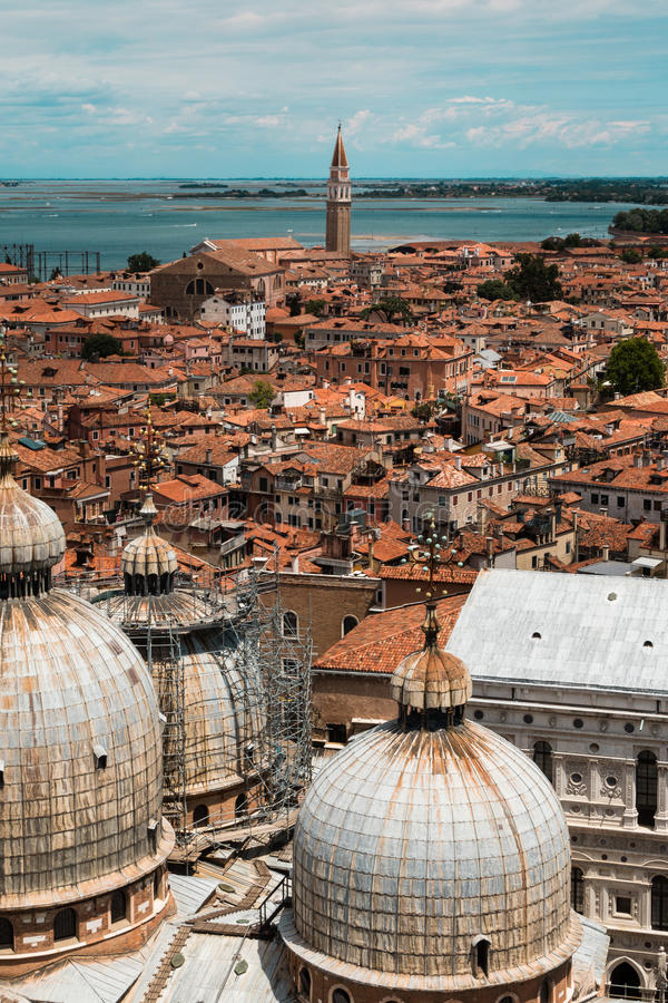 Aerial view of Domed Roof of Saint Marks Cathedral in Venice, It stock photos