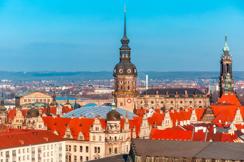Aerial view of domes and roofs Dresden, Germany stock photo
