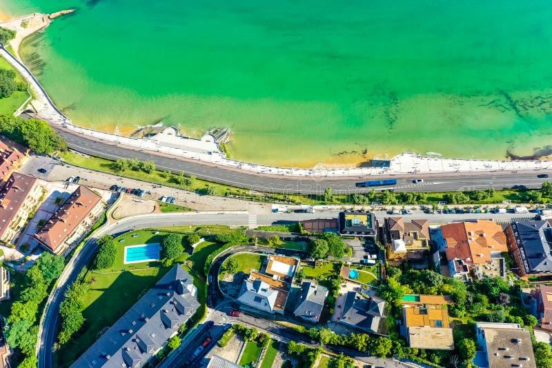 Aerial view of  Donostia San Sebastian Basque country stock photo