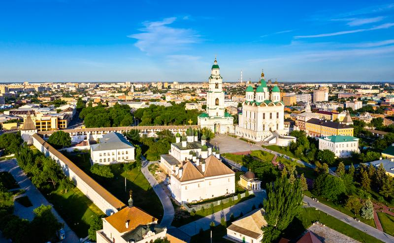 Astrakhan Cathedral within the Kremlin, Russia. Aerial view of the Dormition Cathedral within the Astrakhan Kremlin, Russia royalty free stock photography