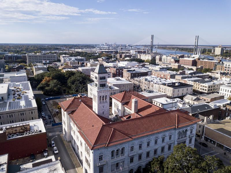 Aerial view of the downtown area of Savannah, Georgia with bridge in the distance stock photo