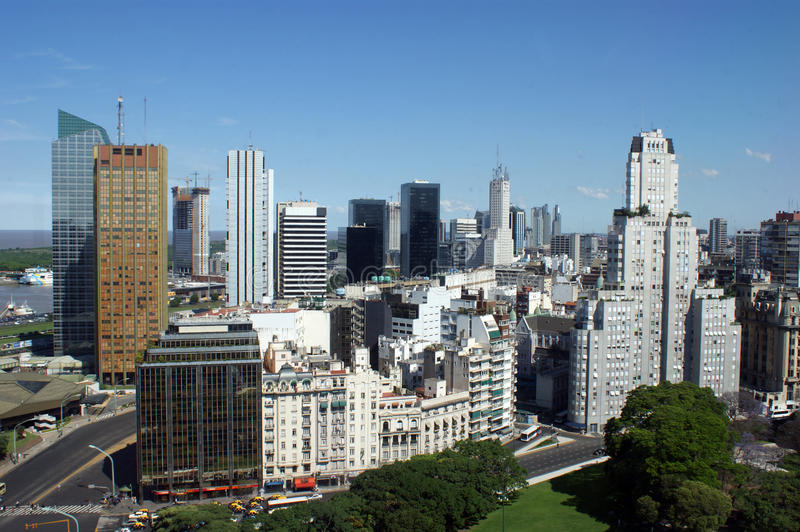 Aerial view of downtown Buenos Aires stock images