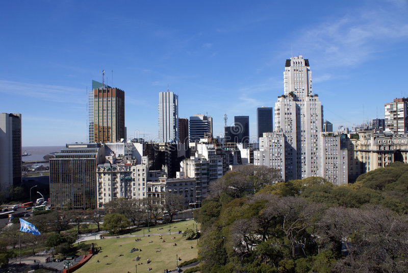 Aerial view of downtown Buenos Aires royalty free stock image