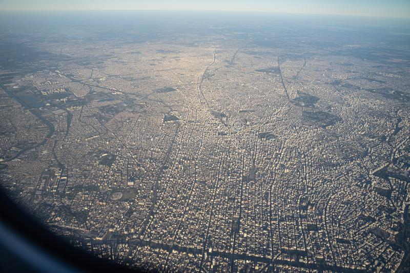 Aerial view of downtown Buenos aires city from airplane window in the morning with skyline stock images