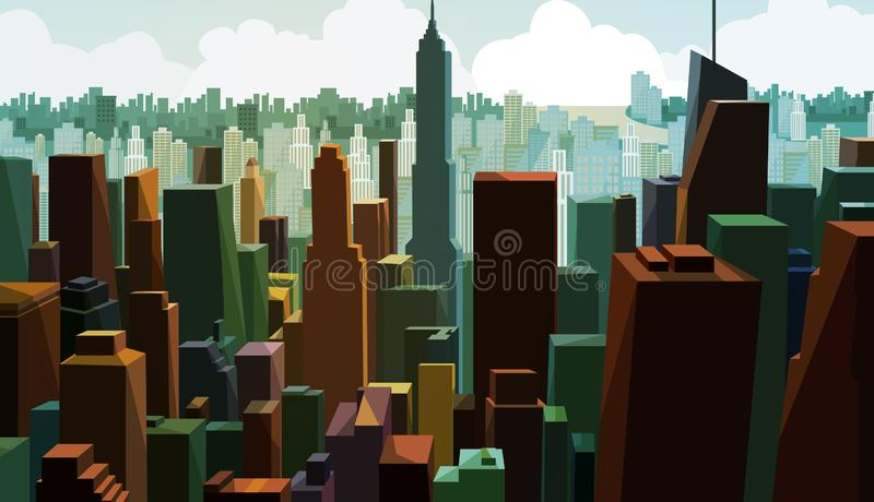 Aerial view of a Downtown capital.Cityscape view with tower design.Panorama of Business district with high building. stock illustration