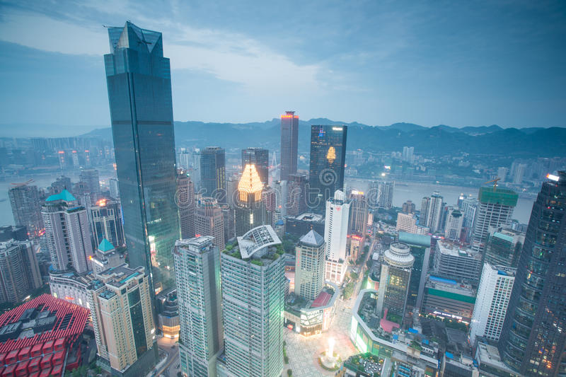 Aerial view of the downtown in Chongqing stock images