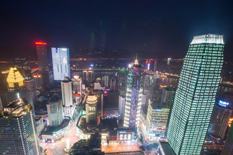 Aerial view of the downtown in Chongqing royalty free stock photography