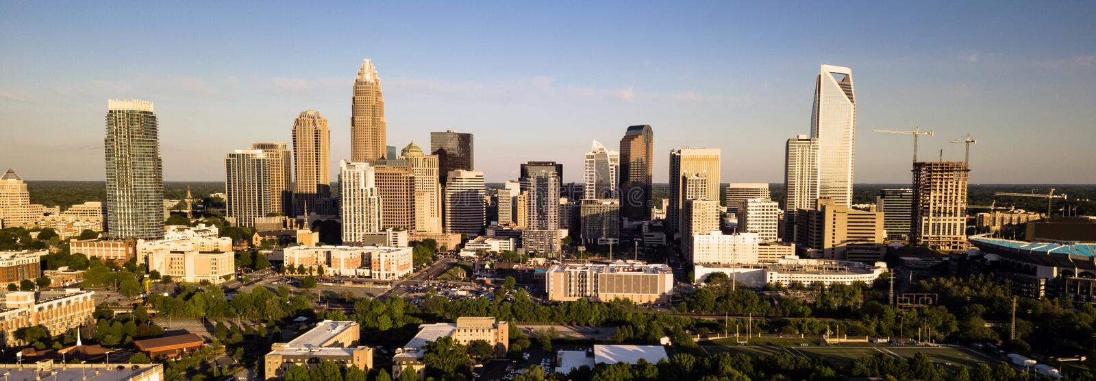 Aerial View of the Downtown City Skyline of Charlotte North Carolina stock photography