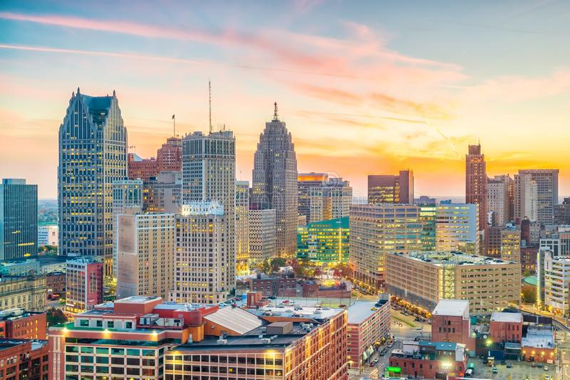 Aerial view of downtown Detroit at sunset in Michigan stock photography