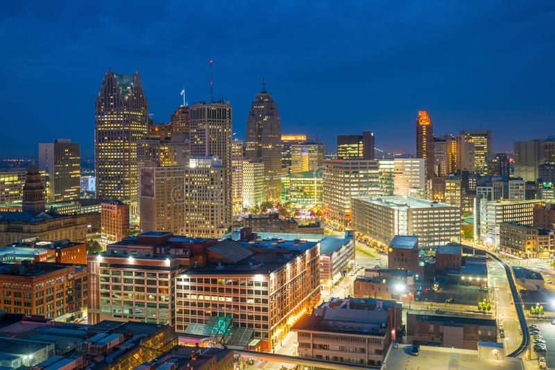 Aerial view of downtown Detroit at twilight royalty free stock photos