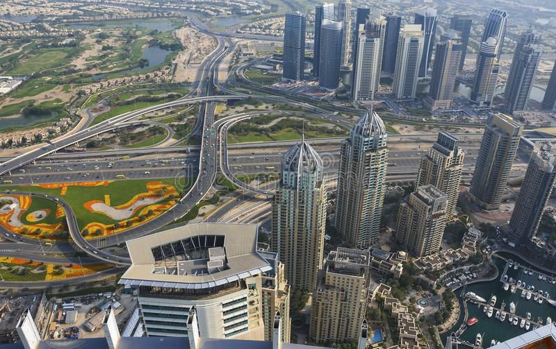 Aerial view of Downtown Dubai royalty free stock images