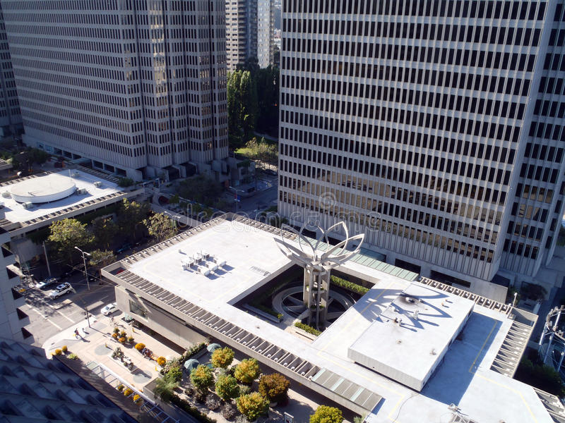 Aerial View Of Downtown Embarcadero Buidlings And Flower Sculptu Stock Photos