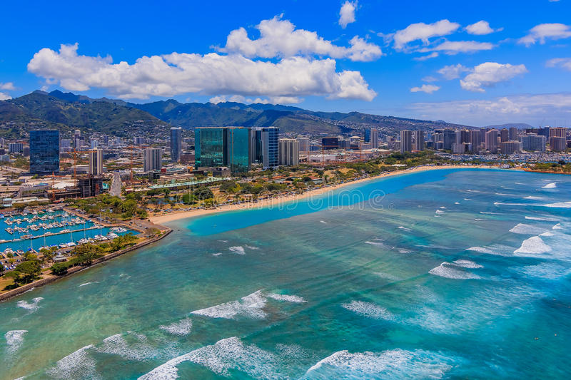 Aerial view of downtown Honolulu Hawaii royalty free stock photo