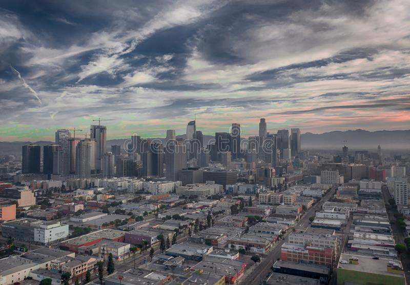 Aerial view of downtown Los Angeles in California. United States royalty free stock image