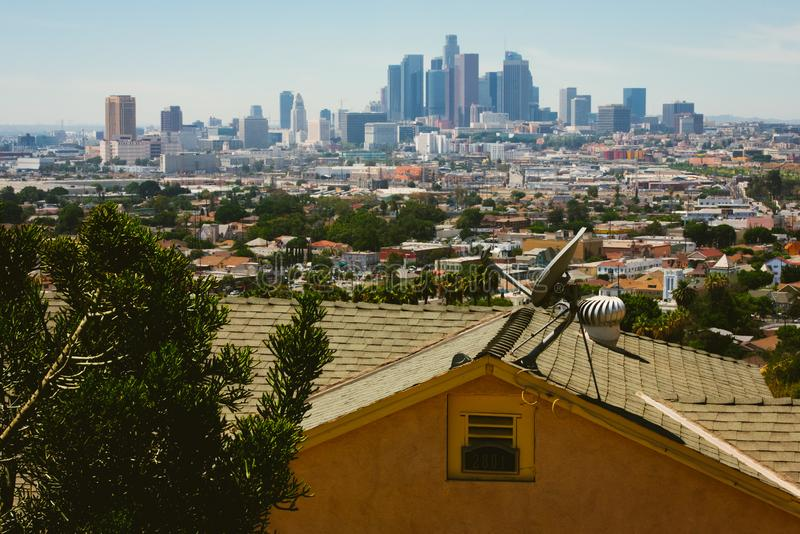 Aerial view of Downtown Los Angeles stock images