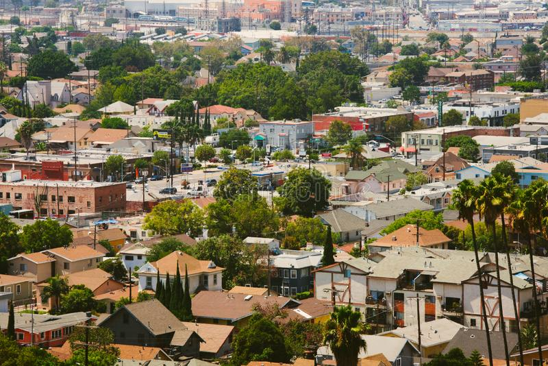 Aerial view of Downtown Los Angeles stock photography