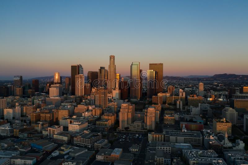 Aerial view of downtown Los Angeles at sunrise. In California royalty free stock photography
