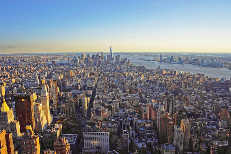 Aerial view of Downtown Manhattan and Lower Manhattan. Aerial view from Observatory deck of the Empire State Building on Downtown Manhattan and Lower Manhattan royalty free stock photo