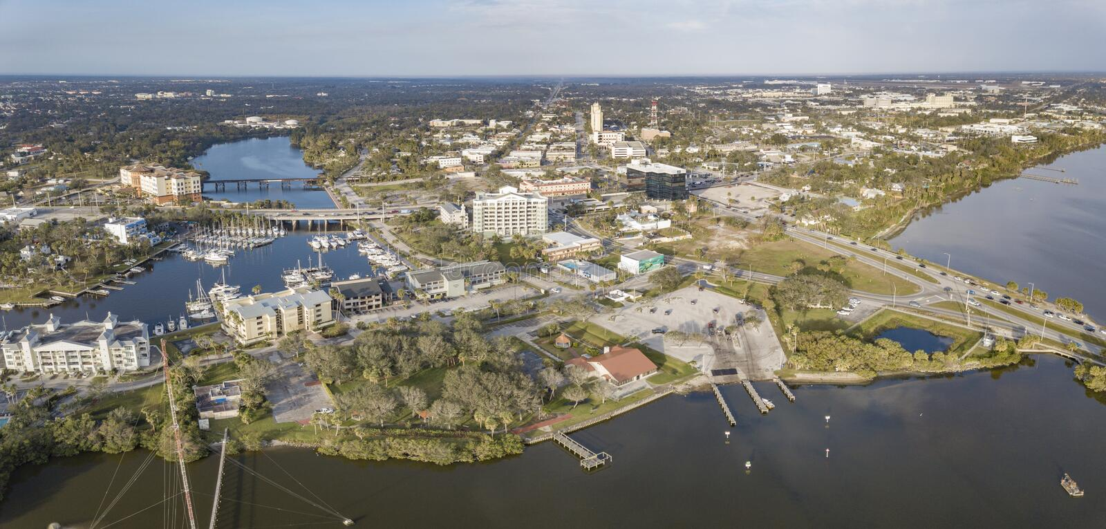 An Aerial View of Downtown Melbourne, Florida. Melbourne Florida`s historic downtown is on the shore of the Indian River Lagoon stock images