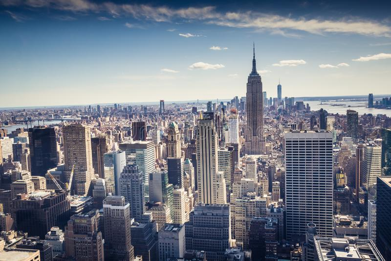 Aerial view of Downtown and Midtown Manhattan Skyline, New York, USA royalty free stock photos