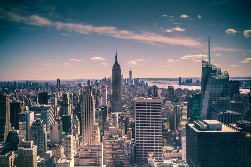 Aerial view of Downtown and Midtown Manhattan Skyline, New York, USA- view from the Brooklyn. Aerial view of Midtown and Downtown Manhattan, New York, USA royalty free stock photos
