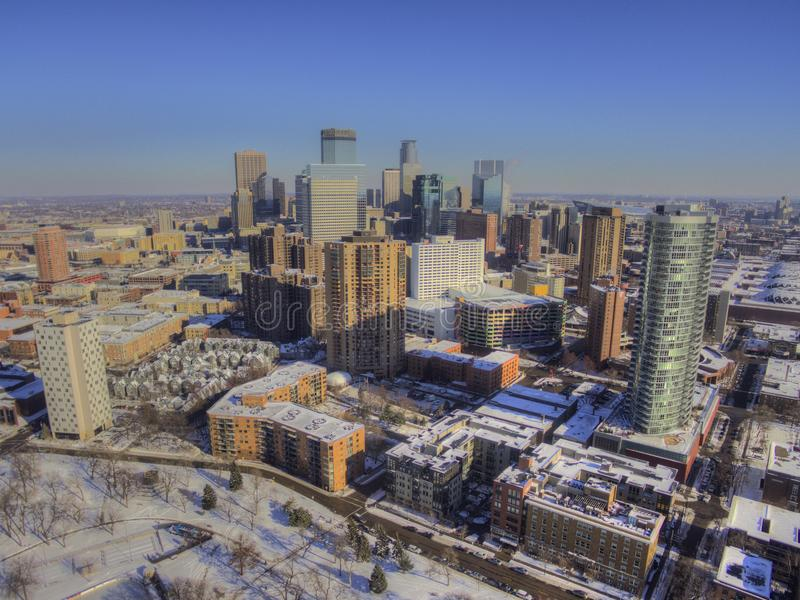 Aerial view of the Minneapolis Skyline during winter royalty free stock images