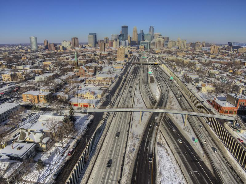 Aerial view of the Minneapolis Skyline during winter royalty free stock image