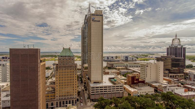 Aerial view of downtown Mobile, Alabama. Aerial view of the city of downtown Mobile, Alabama along the Mobile River in July royalty free stock photography