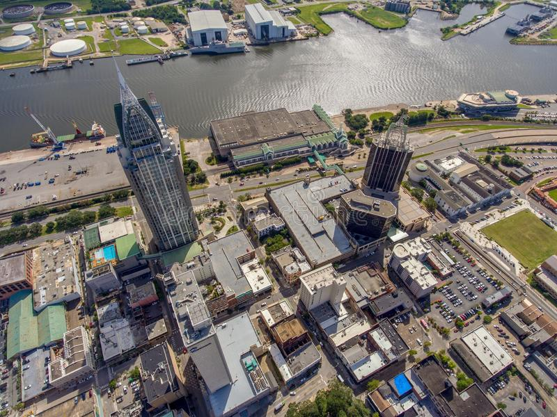 Aerial view of downtown Mobile, Alabama. Aerial view of the city of downtown Mobile, Alabama along the Mobile River in July royalty free stock photos