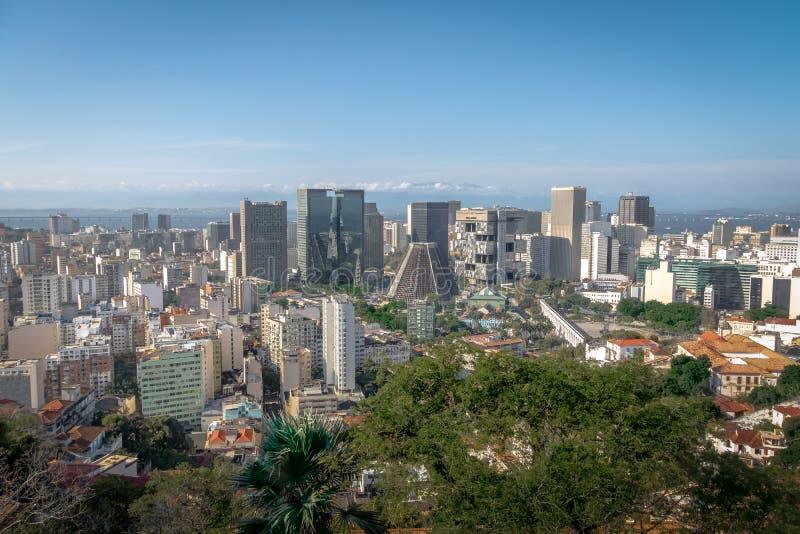 Aerial view of downtown Rio de Janeiro skyline and Metropolitan Cathedral - Rio de Janeiro, Brazil. Aerial view of downtown Rio de Janeiro skyline and royalty free stock photo