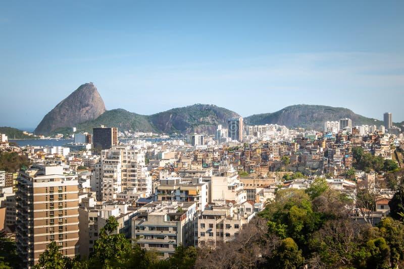 Aerial view of downtown Rio de Janeiro and Sugar Loaf Mountain from Santa Teresa Hill - Rio de Janeiro, Brazil. Aerial view of downtown Rio de Janeiro and Sugar stock image