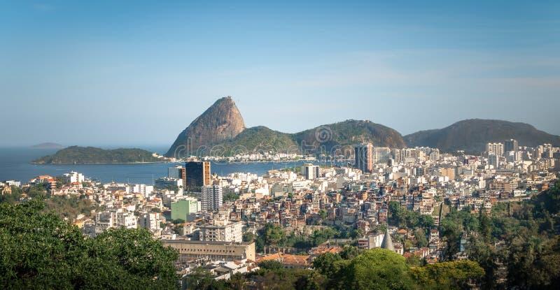Aerial view of downtown Rio de Janeiro and Sugar Loaf Mountain from Santa Teresa Hill - Rio de Janeiro, Brazil. Aerial view of downtown Rio de Janeiro and Sugar stock photos