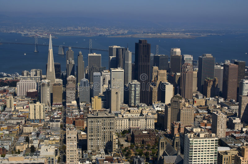 Aerial view of downtown San Fr royalty free stock images