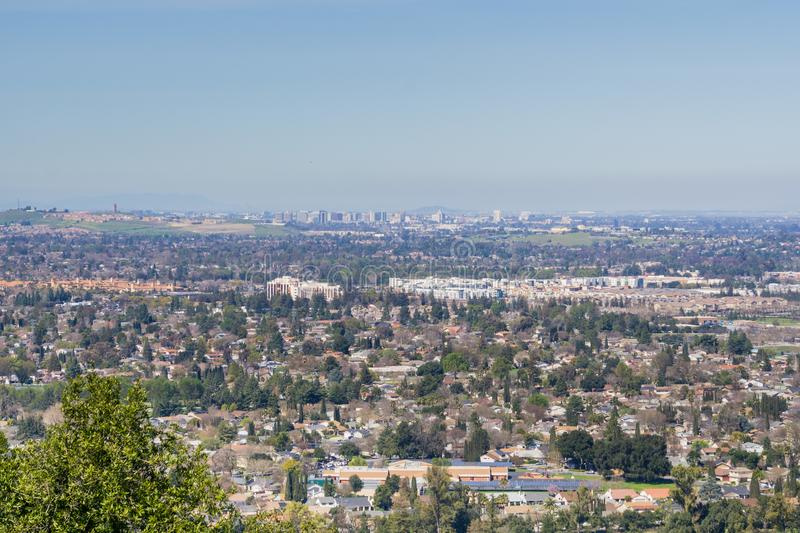 Aerial view of downtown San Jose on a clear day, south San Francisco bay, California royalty free stock images