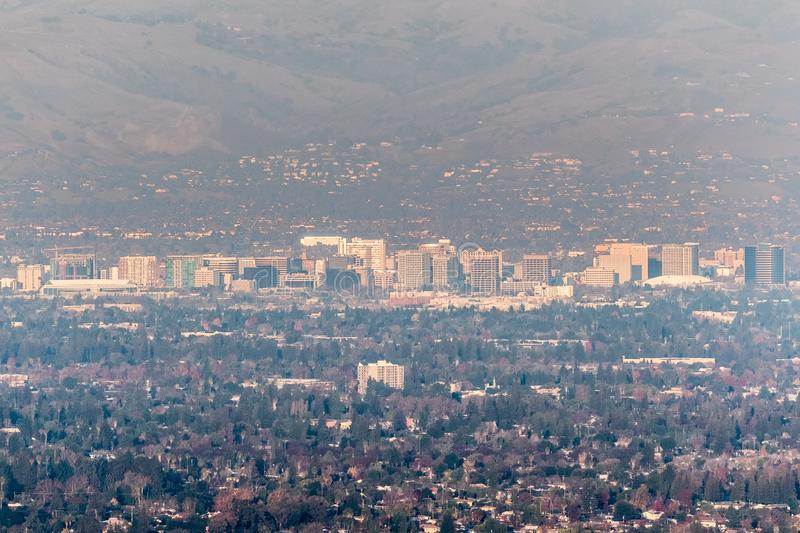 Aerial view of downtown San Jose on a sunny afternoon; Silicon Valley, south San Francisco bay area, California; pollution and. Smog visible in the air royalty free stock photos