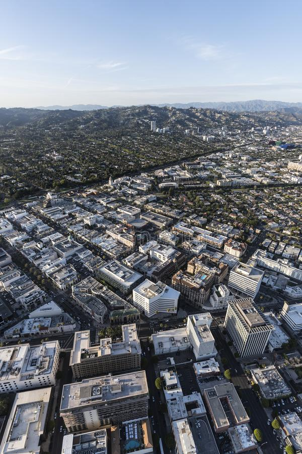 Downtown Beverly Hills California Vertical Aerial stock image