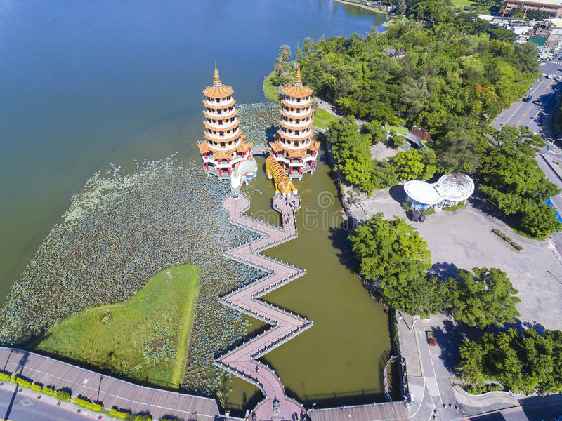 Aerial view of Dragon and Tiger Pagodas in Lotus Pond, Kaohsiung royalty free stock photos