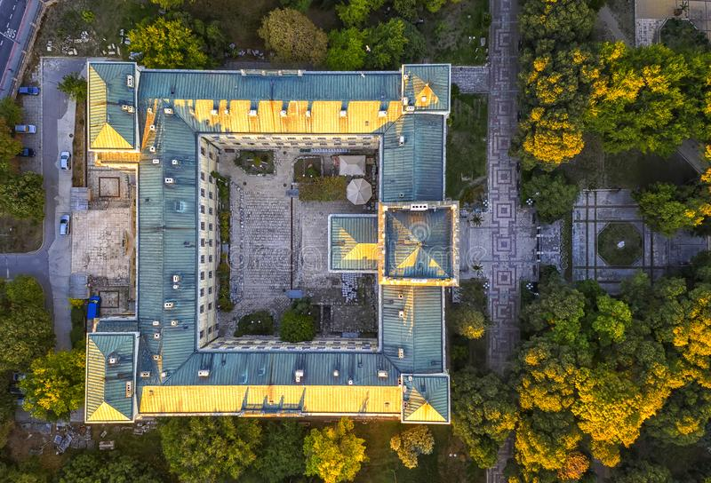 Aerial view from drone of the building. Of the Archaeological Museum, Varna, Bulgaria. Top view royalty free stock photo