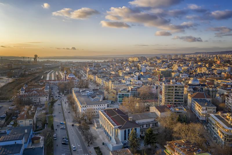 City and central railway station, Varna, Bulgaria. Aerial view from drone of city and central railway station, Varna, Bulgaria royalty free stock photos