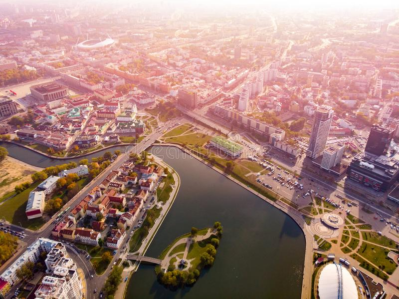 Aerial view drone, cityscape of Minsk, Belarus. Sunset. Panorama royalty free stock photography