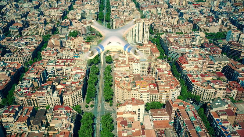 Aerial view of drone flying and filming above Barcelona blocks pattern, Spain. 3D rendering stock photos