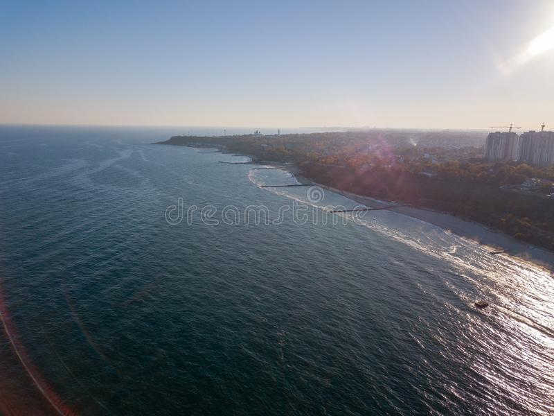 Aerial view from drone marine cityscape of town Odesa, Ukraine on a background of clear blue sky in a sunny day. Copy. Panoramic bird`s eye arial view from drone stock images