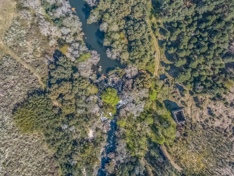 Aerial view of drone, natural landscape river with and colored trees on the banks royalty free stock photos