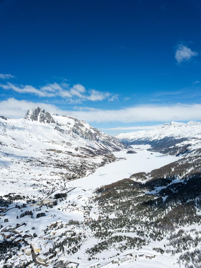 Aerial view by drone over the Engadin valley,St. Moritz, Switzerland stock photography
