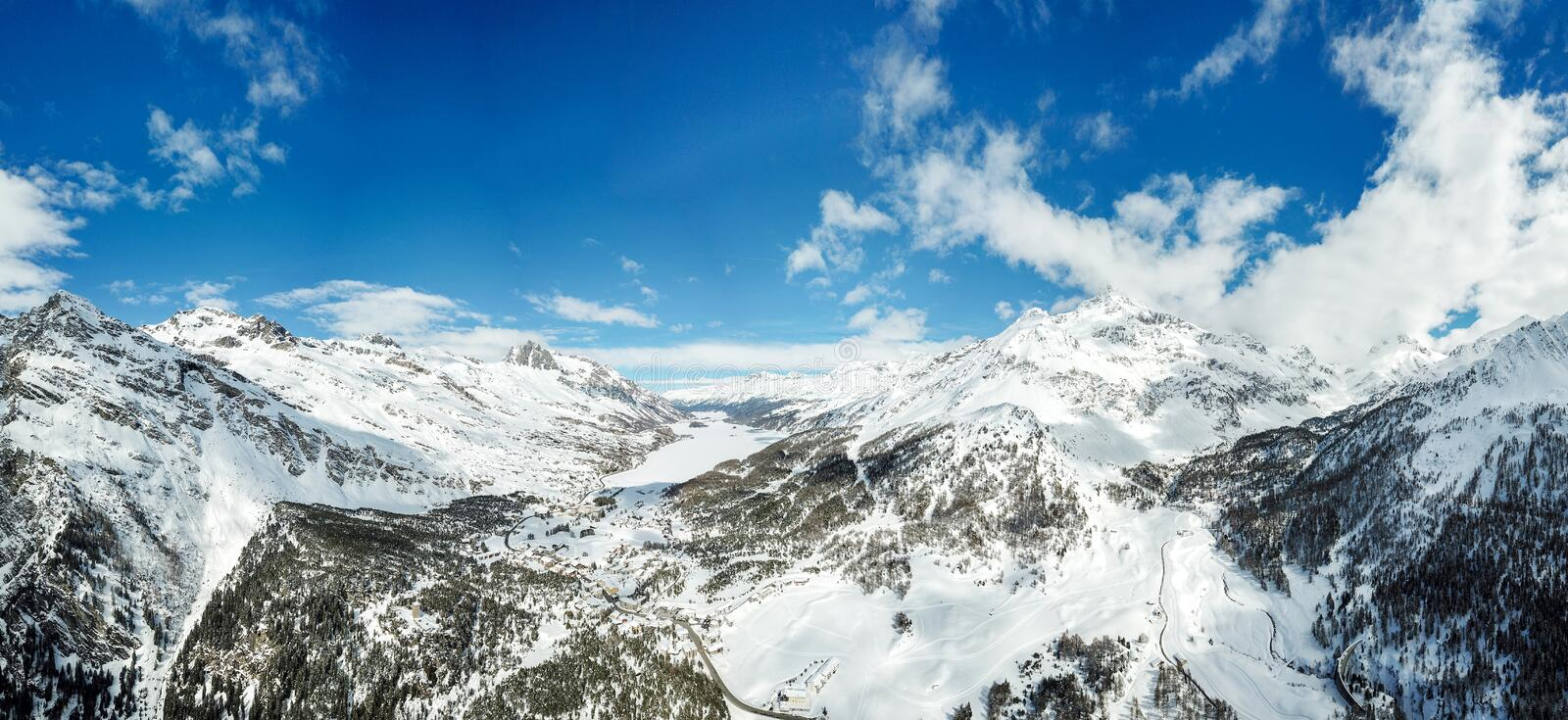 Aerial view by drone over the Engadin valley, Swiss Alps, Switzerland stock photos