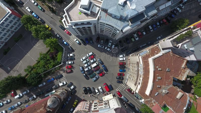 Aerial view from drone over a roundabout, in Bucharest stock image