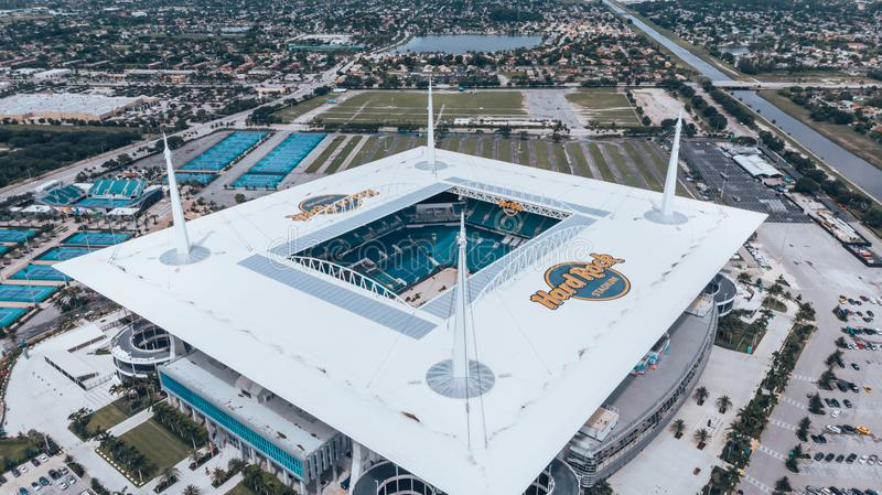 Aerial view, drone photography of Hard Rock Stadium located in Miami Gardens. Home stadium of the Miami Dolphins. Under constructi stock photos